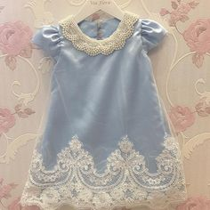 Girls Lacey Off Shoulder Top and Ruffled Denim Hi-Low Skirt Set Gowns For Girls, Dresses Kids Girl, Girls Party Dress, Little Girl Dresses, Kids Outfits, Toddler Girl Style, Toddler Dress, Baby Girl Fashion, Kids Fashion