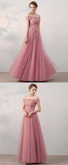 6955ccda783 Pink lace tulle long prom dress