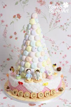 るいさんのマカロンタワーとケーキの画像:東京シュガーアート 頑張ってシュガーアートを広めてマス!