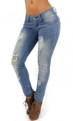 Distressed Maripily Skinny Jean #denimlovers #womenskinnyjeans #maripilyskinnyjeans