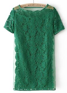 Green Short Sleeve Embroidery Lace Dress