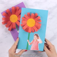 This simple tutorial will show you how to make a cool paper flower Mothers day craft, a project that's really great to make in the classroom. Source by easypeasyandfun Mothers Day Crafts For Kids, Paper Crafts For Kids, Crafts For Kids To Make, Mothers Day Cards, Preschool Crafts, Diy Paper, Art For Kids, Diy Crafts, Card Crafts