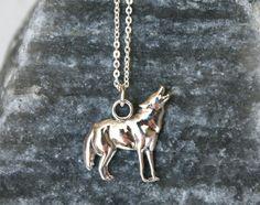 Sterling Silver Wolf Necklace by greenduckweed on Etsy, $26.00