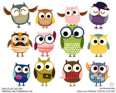 Owls and friends DIGITAL CLIP ART for Personal par Giftseasonstore