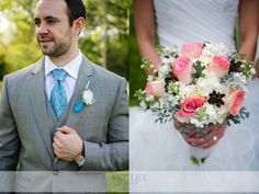 Gorgeous coral and blue wedding