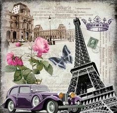 Paris, French postcard, Eiffel tower, pink roses, crown, butterfly, stamp, vintage card.