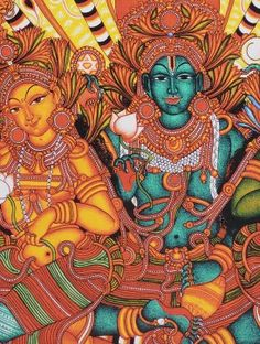 Ananthasanam Kerela Murals 20in x 14in Mahavishnu or Lord Vishnu is one of the supreme deities of Hinduism. Ananthasanam which literally means 'Relaxed Pose' shows Him in his characteristic blue colour with His two consorts in the ocean of milk. This artwork is predominantly characterised in burnt orange hues.