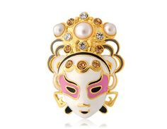 High Quality Copper Alloy Cool Mask Design Plated Brooch (Golden)