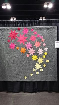 "quiltails: """"Comma Comet"" by Janet Gannon and quilted by Pam Biswas of Katy, Texas. Very fun modern quilt with great movement. Photo taken at AQS Paducah Quilt Week, Kentucky, 2015. """