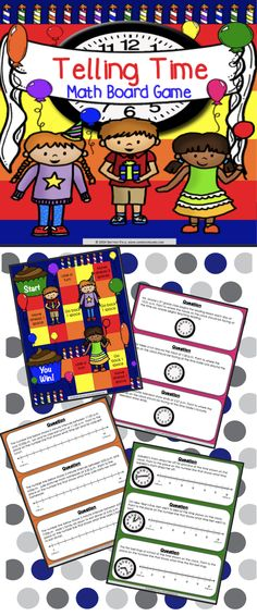 Telling Time Board Game contains 30 WORD PROBLEM game cards and a game board to help students practice telling and writing time to the nearest minute (3.MD.A.1). This game works great as a pair/group activity, or for use in math centers.