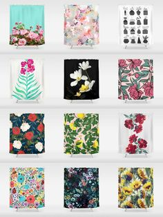 Society6 Floral Shower Curtains - Add a bold statement to your bathroom with Society6 Shower Curtains. Want more? We also have bath mats and towels!
