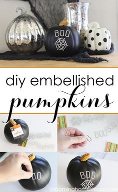 These DIY Embellished Pumpkins are so easy and add such a touch of Spook to your halloween decor! | Halloween  | decor  | pumpkin