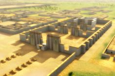Here the Great Temple of the Aten (a reconstruction of which is shown here) and the Small Aten Temple, in Pharaoh Akhenaten's  Central City of Akhetaten, were used for religious functions and between these the Great Royal Palace and Royal Residence were the ceremonial residence of the King and Royal Family, and were linked by a bridge or ramp.