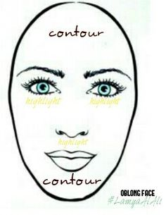 ✏OBLONG FACE: Contour across the lower section of your chin shorten your face. And also you need contour nose and highlights under your eyes and nose too. #LamyaAlAli #makeup #makeuptip #makeupartist #makeuplover #beauty