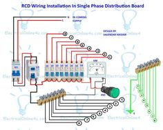 18 best electrical tutorials images on pinterest diagram a complete diagram of single phase distribution board with double pole mcb wiring rcd wiring volt meter wiring and light indicator asfbconference2016 Images