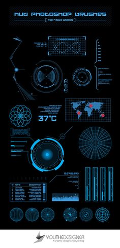 The pack contains 23 high quality HUD Photoshop brushes that are perfect for your next futuristic design project. Unleash your geekery for aviation, automobiles, and computer gaming by giving this brush set a shot! Web Design, Game Design, Application Ui Design, Head Up Display, Futuristic Design, Photoshop Brushes, Photoshop Actions, Adobe Photoshop, User Interface Design