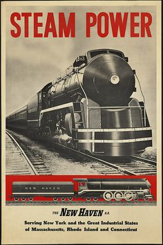 Baldwin Hudson Steam Locomotive - The New York, New Haven and Hartford RR - Delivered 1937 - Vintage Rail Poster Train Posters, Railway Posters, Posters Uk, Orient Express Train, Retro Poster, Print Poster, Art Print, Railroad Companies, Old Trains