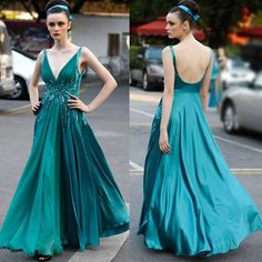 V Neck Formal Satin Evening Ball Gown/ Prom/ Pageant Dress