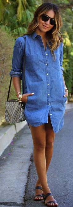 Denim dress--love. Wanna have lunch? Shop till we drop? I do and in this dress.