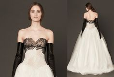 @FSBridal The perfect expression of ladylike boldness, this strapless multi-lace gown with hand-pieced Chantilly lace has ornate appliqué details—and our full attention.