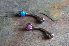 Rook earring, daith piercing or eyebrow ring with fire opals. You will receive 2 rook piercings, eyebrow rings, or daith earrings in turquoise blue