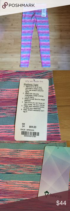 NWT ivivva rhythmic tights 14 Brand new with tags Ivivva rhythmic tights. Ivivva is the youth line of lululemon, the youth 14 is similar to a lulu 4. Ivivva Bottoms Leggings