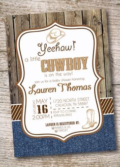 Nealon Design Western Cowboy BABY SHOWER Invitation Love how this