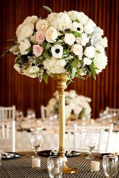 #anemone, #centerpiece  Photography: Ashlee Raubach Photography - www.ashleeraubach.com  Read More: http://www.stylemepretty.com/2014/04/30/black-white-blush-seaside-wedding/