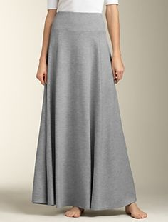 a long gray skirt cut on the bias so that it falls perfectly. Beautiful!