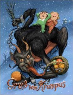 Krampus on Sled with Children Demon Modern Postcard