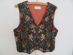 Ladies 10-12 Green Waistcoat in William Morris Design