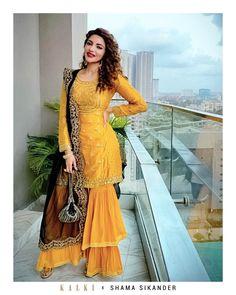 3455fffd8391 Shama Sikander in Kalki Mustard Chanderi silk sharara suit set
