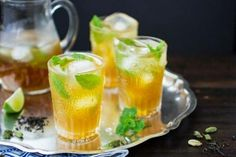 The Bojon Gourmet: Moroccan Mojitos. Made with cardamom, orange liqueur, lemon juice, dark rum, Mint and rose water. Tea Cocktails, Cocktail Recipes, Drink Recipes, Spearmint Tea, Bojon Gourmet, Mojito Recipe, Fresh Lime Juice, Moroccan, Cheers