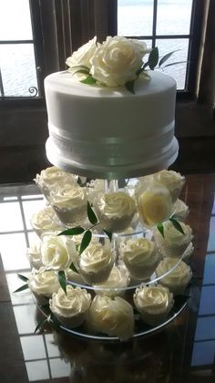 Wedding Cupcake Tower for intimate wedding - coconut & lime top tier with 'Tangy Lemon' & 'Zesty Orange' cupcakes
