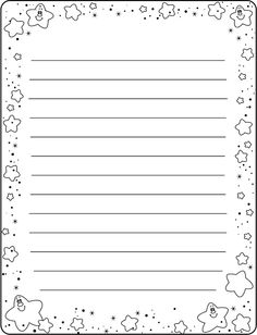 Writing Paper with Star Border by Doshi Designs Printable Lined Paper, Free Printable Stationery, Work Planner, Cute Journals, Borders For Paper, Bullet Journal Ideas Pages, Journal Paper, Scrapbook Embellishments, Note Paper