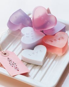 Heart-Shaped Soap Valentine's Day Gift | Martha Stewart Living - Stamped soaps, inspired by candy conversation hearts, are great gifts for friends. Put in cellophane bags tied with tags; adorn with glitter.