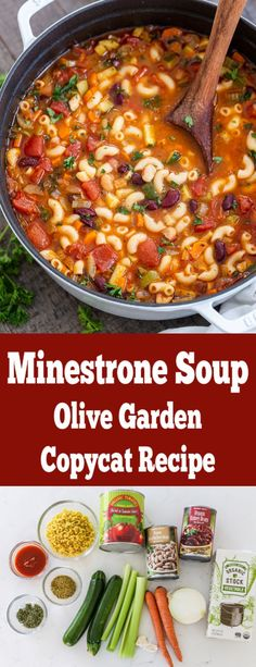 Minestrone soup is so hearty it can stand on its own as the main dish! A copycat of recipe from Olive Gar Minestrone soup is so hearty it can stand on its own as the main dish! A copycat of recipe from Olive Garden! Easy one pot soup recipe. Easy Soup Recipes, Easy Dinner Recipes, Vegetarian Recipes, Cooking Recipes, Healthy Recipes, Soup Crockpot Recipes, Healthy Soup, Italian Soup Recipes, Salads