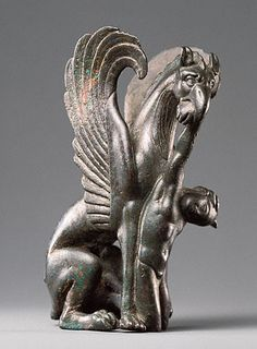 Griffin Devouring an Arimasp, Greek, 125 - 75 BCE, bronze, 7.9cm, Getty Collection, Los Angeles