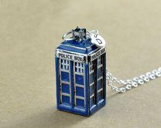 Blauwe Tardis Charm Necklace Doctor Who sieraden door InitialFashion