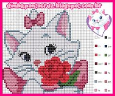 Dinha Ponto Cruz: Gata Marie gráfico e monograma ponto cruz - Красивые картинки - Cat Cross Stitches, Cross Stitching, Cross Stitch Embroidery, Hand Embroidery, Cross Stitch Patterns, Small Cross Stitch, Cross Stitch For Kids, Graph Crochet, Crochet Cross