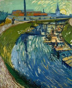 Van Gogh, Canal with Washerwomen, June 1888. Oil on canvas, 74 x 61 cm. Private…