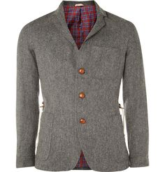 Oliver Spencer - Wool Blend Jacket $180 - I am loving the plaid lining and wood buttons