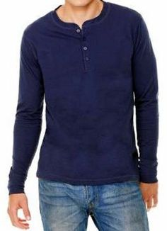 Bella + Canvas Long Sleeve Navy Jersey Henley T-Shirt 3150 S-2XL Tee Fashion 48adeb183fb