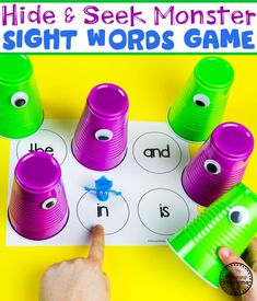 Monster Theme Join our Email Group for Ideas, Freebies & Special Offers.Do you want to teach a Monster Theme Unit in your preschool? This set is packed wi Preschool Sight Words, Learning Sight Words, Sight Word Practice, Sight Word Games, Sight Word Activities, Letter Sound Games, First Grade Sight Words, Literacy Games, Preschool Literacy