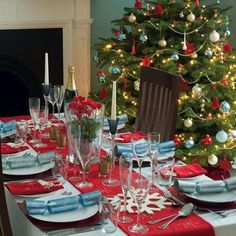"Tablescape - idea: use your Christmas tree colour scheme to ""colour"" your table"