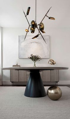 Kyoto ceiling light by Lumifer, Oil Rubbed Patina Brass, Tinted Blown Glass Modern Dining Table, Dining Room Table, Console Tables, Design Furniture, Luxury Furniture, Furniture Makers, Modern Furniture, Contemporary Interior, Modern Interior Design