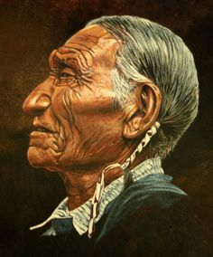 Cheyenne Leader - acrylic painting on 15-inch horse hide drum