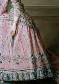 Salvador Maella: Carlota Joaquina de Borbón (details). 1785. Madrid, Museo del Prado.  Infanta of Spain, later queen consort of Portugal.