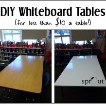 Classroom DIY: Whiteboard Tables. Great guide on converting your wood tables into amazing whiteboard tables.