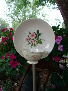 Shabby Chic Garden Bird Feeder, Recycled Cup And Dessert Plate Sit On A Pole…